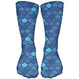 Calcetines clásicos para hombre y mujer, diseño de sirena, color azul, 30 cm de largo para toda la temporada