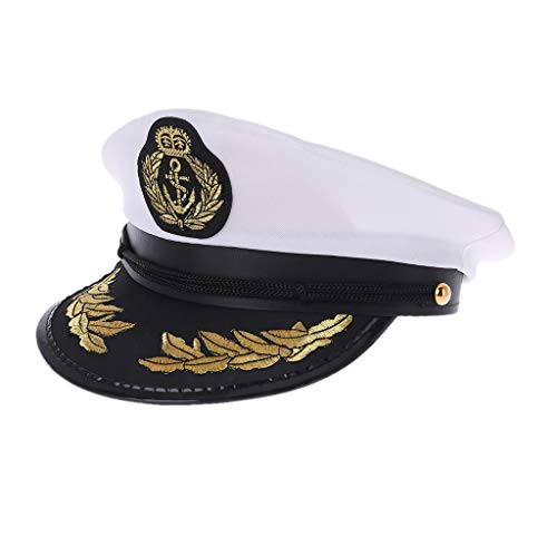 ruiruiNIE Sombrero de Marinero Adulto Blanco Barco capitán capitán Gorra Traje Fiesta Cosplay Vestido(Blanco)