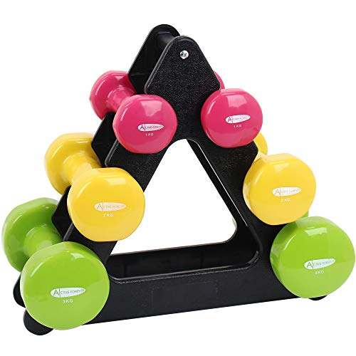 ActiveForever 12kg Dumbbell Workout Weight Set Including Stand - Vinyl Coated Exercise & Fitness Dumbbell for Home Gym Equipment Workouts Strength Training Free Weights for Women, Men.(1 kg+2kg+3kg)