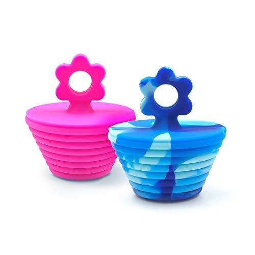 benhong 2 PCS 4.8 cm 5.3 cm 2.98 cm Silicone Bathtub Stopper Silicone Tub Stopper Drain Stopper Bathtub Plug for Kitchen Bathroom Laundry Shower and Jacuzzi (Flower Blue