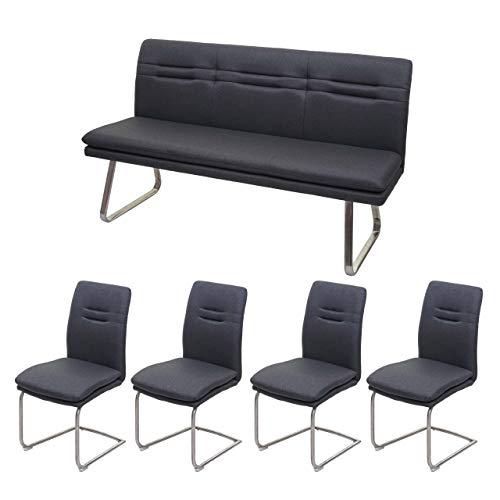 Mendler Esszimmer-Set HWC-H70, Esszimmergruppe Sitzgruppe Esszimmergarnitur, Stoff/Textil Edelstahl gebürstet ~ dunkelgrau 160cm