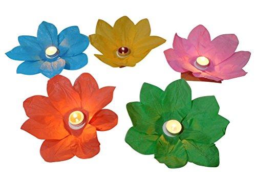 15 Stück Wasserlaterne Lotusblüte Seerose Schwimmlaterne Schwimmkerzen Laterne Teelichter Kerzen Bunt Schwimmlichter