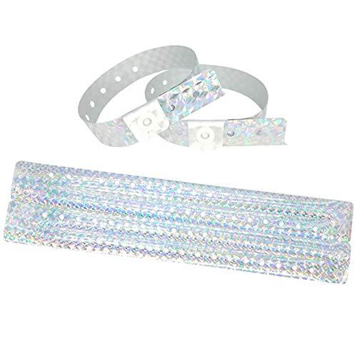 Lote de 100 pulseras de plástico – Vinilo para eventos festivales – Impermeables (plata holográfica)