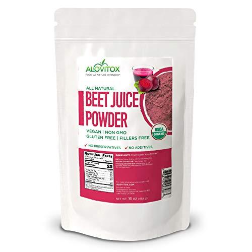 Alovitox Organic Indian Beet Juice Powder 16 oz Raw Vegan & Gluten Free (Beet Juice Powder, 16 oz)