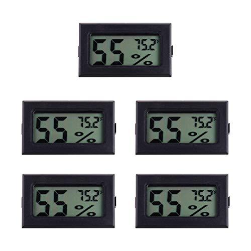 UPKOCH 5-Pack LCD Digital Hygrometer Thermometer, Mini Digital Temperaturmesser Feuchtigkeitsmesser für Gewächshaus/Autos/Zuhause/Büro (Schwarz)
