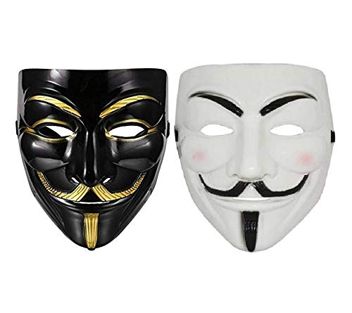 CC&S VMBW101 V for Vendetta Comic Face Mask Anonymous Guy Fawkes (Black & White) Pack of 2 Party mask