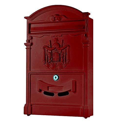 Melko Retro Briefkasten mit A4 Einwurf-Format, Aluguss und Stahl, ca. 25,5 x 8,6 x 41 cm, Rot
