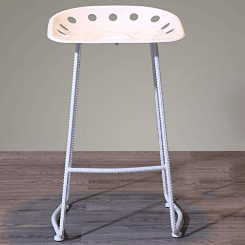 Chair Chaise de bar en métal rétro simple Tabouret de bar en fer forgé A+ (Couleur : Blanc)
