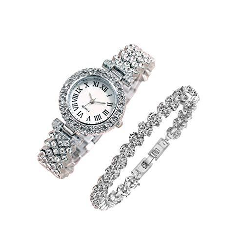 Baluue Reloj de Lujo para Mujer Relojes de Diamantes de Imitación de Cristal Reloj de Pulsera de Acero Inoxidable Reloj de Cuarzo Brillante Pulsera para Dama 2 Piezas de Plata