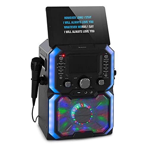 auna Rockstar Plus - Impianto per Karaoke, Funzione Bluetooth, Porta USB, Lettore CD Adatto a CD, CD+G, CD-RW, incl. Microfono, 2 Ingressi Microfono, Show LED, Nero