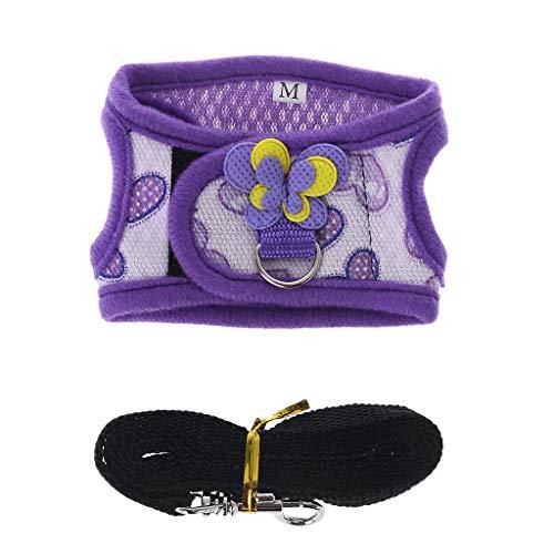 Shaoyanger - Juego de arnés ajustable para hámster, chaleco y correa para cobaya, cerdo, chinchilla y ratón, hurón, pequeños accesorios para animales medium Purple Heart