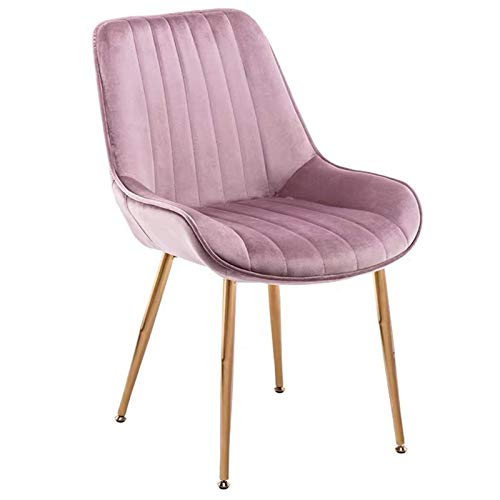 Dining Chairs 1 Piece Velvet Seat Mid-Century Modern Kitchen Chairs with Backrest Metal Legs For Office Lounge Dining Kitchen (Color : Purple)