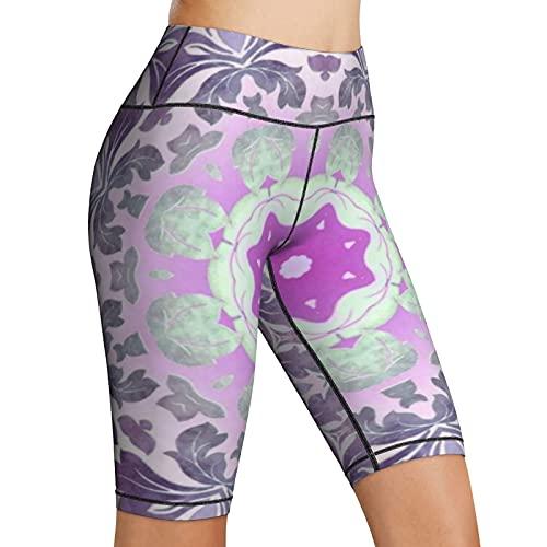 Inaayayi Pantalones cortos de yoga de cintura alta personalidad colorida chic bohemio lila púrpura mandala mujeres bicicleta pantalones cortos yoga entrenamiento de compresión pantalones cortos