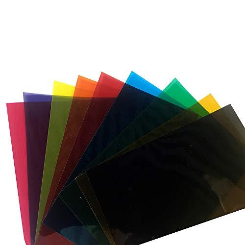 HOHOHO 9-Farben-Packung von bunten transparenten Fensterfolien, selbstklebend, Glasdekoration, Tönung, A4, 21 x 29,7 cm.