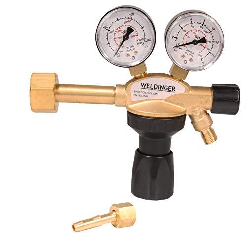 WELDINGER 'PRO' Druckminderer Messing für Sauerstoff/O2-Mehrwegflaschen