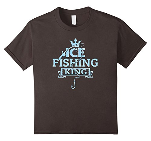 Kids Ice Fishing King Winter Outdoor Recreation T-Shirt 4 Asphalt