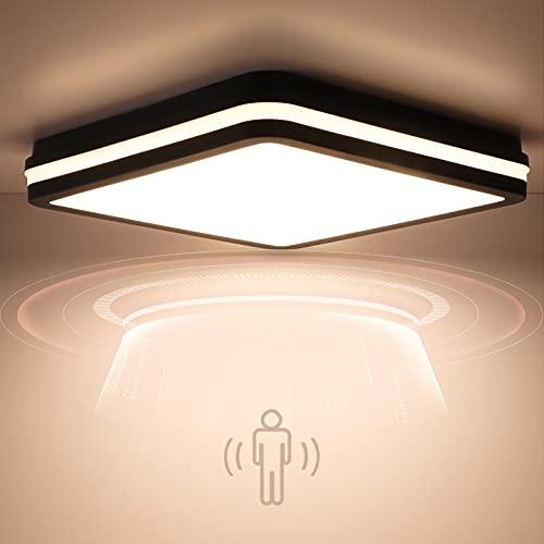 Plafoniera a LED con sensore di movimento, 18 W, 1800 lm, lampada da soffitto a LED con sensore di movimento, regolabile, IP54, impermeabile, per corridoio, bagno, scale, cantina, magazzino