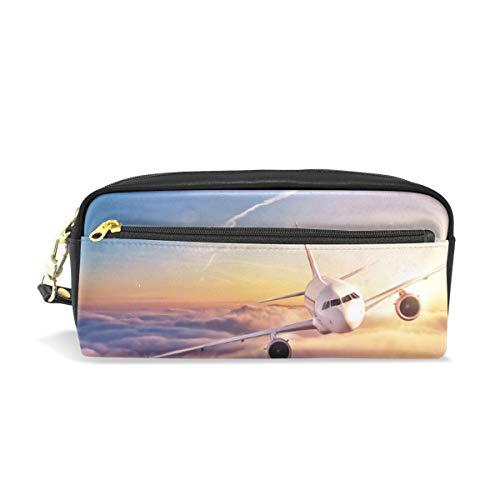 ふでばこ PU 革 雲海 飛行機 太陽 ペンケース かわいい おしゃれ 大容量 ペンポーチ ラージサイズ 防水 化粧ポーチ 軽量 筆袋 文具収納 ペン箱 収納バッグ プレゼント