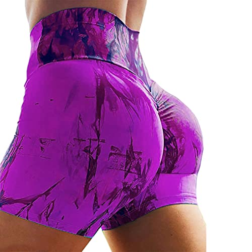 Hhwei Mujer Pantalones Yoga Teñido Anudado Impresión Pantalones Cortos Deporte Butt Lifting Correr Shorts