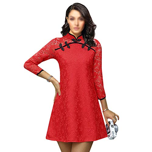 Van Caro Women's Knee Length Qipao Dress Red Chinese Wedding Dress Cheongsam L/10