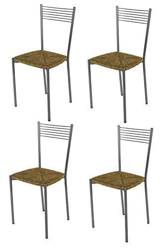 Tommychairs - Set 4 sedie modello Elegance per cucina bar e sala da pranzo, struttura in acciaio verniciato color alluminio e seduta in paglia
