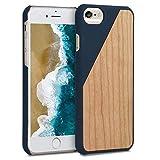 kwmobile Funda Compatible con Apple iPhone 6 / 6S - Carcasa de Madera - Case Trasero Duro Madera Bicolor