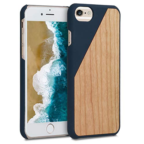 kwmobile Coque Compatible avec Apple iPhone 6 / 6S - Coque Housse de Protection Rigide pour télephone en Bois Bleu foncé-Marron