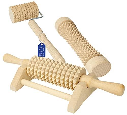 3pezzi Lantelme 4802legno Massage Roller Set massaggio/Wellness ruote/Roller per piede e corpo