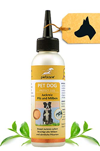 Peticare Spezial-Pflege für Hunde bei Juckreiz, Milben, Flöhe - Effektive Schutz-Lotion gegen Jucken, Pilzbefall, Floh-Befall mit medizinisch Reiner Ölbasis - petDog Protect 2101