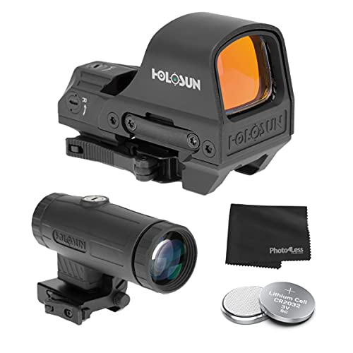 HOLOSUN HE510C-GR Elite Open Reflex Multi-Reticle Green Dot Sight with QD Mount + HM3X 3X Magnifier + Extra Batteries and Lens Cloth