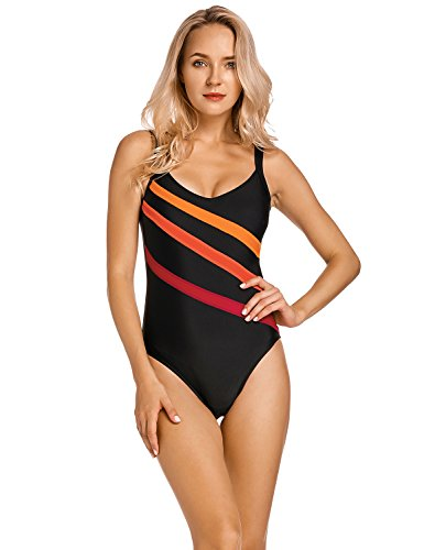 DELIMIRA Damen Einteiler Badeanzug - Gestreift Schwimmanzug Schale Slim Bademode Schwarz 40
