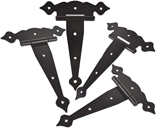 TamBee 8inch Strap Hinges Shed Door Hinges Barn Door Hinges Heavy Duty Gate Hinges for Wooden Fences Decorative Classic Hinges Black
