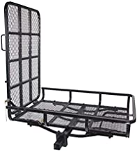 ECOTRIC Hitch-Mounted Cargo Carrier with Mobility Ramp for Wheelchair Scooter Lawn Mower Snow Blower Hauler 500lb Capacity Basket-Style