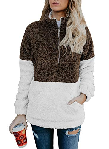 Chase Secret Casual Zip Neck Fuzzy Fleece Long Sleeve Pullover Sweatshirt Jacket Tops with Pocket for Women M Brown