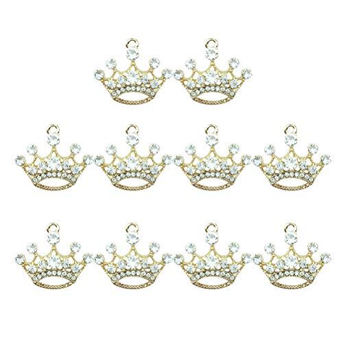 TENDYCOCO 10 Pcs Pendants Diamond Crown Charm Pendant Jewelry DIY Accessories Diamond Jewelry Ornament Accessories for Jewelry Making (Gloden)