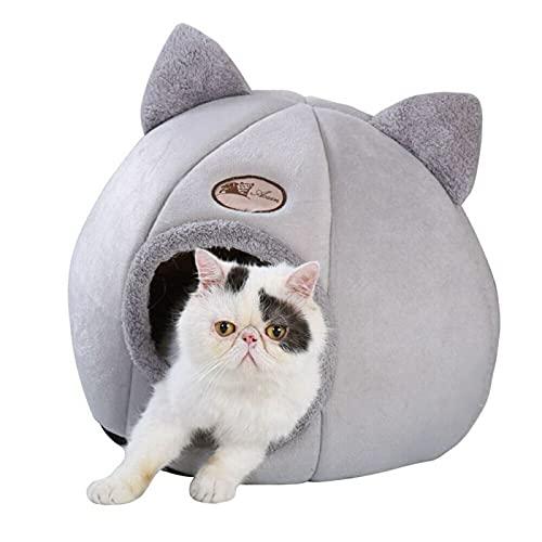 猫のベッド冬 猫ハウス ペット の寝袋冬に暖かく、冷たく、暖かく保つ洗えるド、猫の家猫のク トウォッシング滑り止め小型犬猫ペットハウスクッション付き屋内ようなかわいいペット 休憩所軽量でポータブル(灰色)