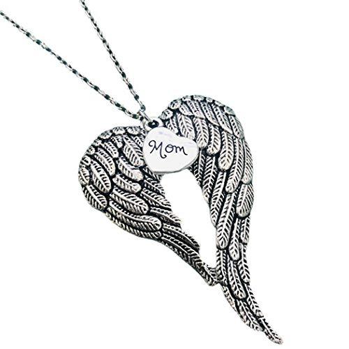 COSYOO Collar de Ala Doble Corazón de Aleación de Zinc Collar de Mamá Delicado Collar de Suéter Collar Colgante