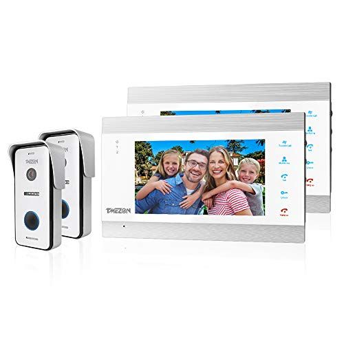 TMEZON Video Türsprechanlage Türklingel Intercom System, Türsprechanlage mit 1080P 7 Zoll 2-Monitor 2-Kamera Für 1-Familienhaus, Touch-Taste, Nachtsicht, Unterstützung automatisch Snapshot/Aufnahme