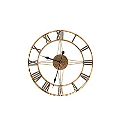 Handcrafted Antique Bronze Finish Metal Wall clock-16 inch Old World Design with Roman Numerals and Silent Battery Movement-Retro Distressed Rustic Gold