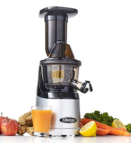 Omega Juicers MMV700S MegaMouth Vertikale Low Speed Leise Saftpresse mit Smart Cap Auslaufhahn, Silber