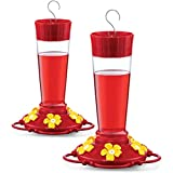 Hummingbird Feeder 10 oz [Set of 2] Plastic Hummingbird Feeders for Outdoors, with Built-in Ant Guard - Circular Perch with 5 Feeding Ports - Wide Mouth for Easy Filling/2 Part Base for Easy Cleaning