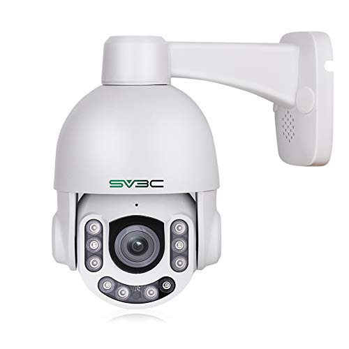 PTZ Camera Outdoor POE 5MP with Built-in Microphone for Two Way Audio, SV3C 10 LEDs Super HD Pan Tilt 5X Zoom Security Surveillance Dome IP Camera(Wired), Support SD Card Recording up to 128gb