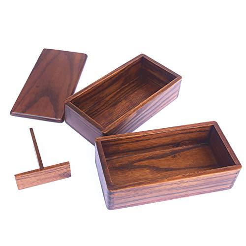 GZWY Caja de almuerzo japonesa Bento, sándwich de madera natural, contenedores dobles para pícnic, lonchera para adultos, niños, trabajo, escuela, camping, uso