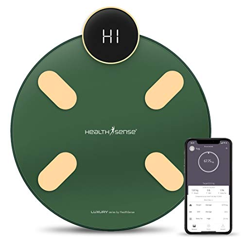 HealthSense S1 Luxury Smart Bluetooth Body Weighing Scale | Digital Fitness Weight Machine with Mobile App, BMI and Fat Analysis with 13 compositions | Batteries and One Year Warranty Included (Green)