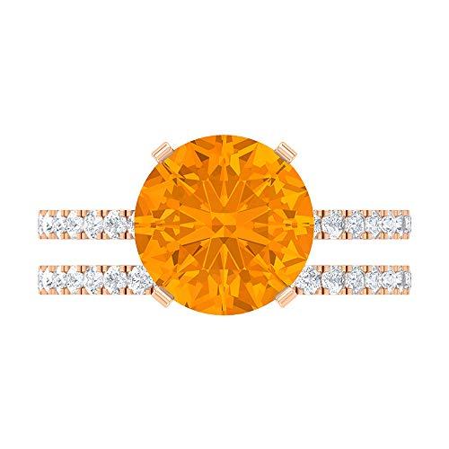 Juego de anillos de solitario de novia de 4,85 CT, 10 mm creado en laboratorio, anillo de zafiro naranja, D-VSSI Moissanite Eternity Banda Anillo, 14K Oro rosa, Size:EU 67