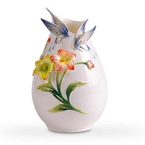 Jarrones para flores Jarrón de extremo alto tridimensional tridimensional mariposa florero cerámico jarrón de cerámica muebles de hogarDecoratorios Ideas de regalos de extremo artesanal para novias Re