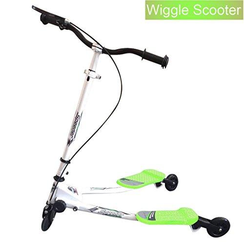 Y Flicker Scheren-Scooter, Slider, Tretroller, Tri-Slider, 3Räder, klappbar, für Kinder ab 5 Jahren, grün