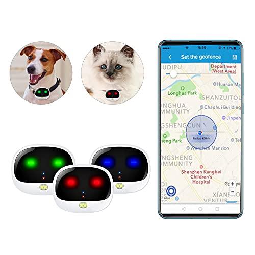 Rastreador de mascotas para perros y gatos, monitoreo de ubicación en vivo, pequeño, ligero, duradero, resistente al agua, a prueba de golpes, notificaciones inteligentes, compatible con GPS