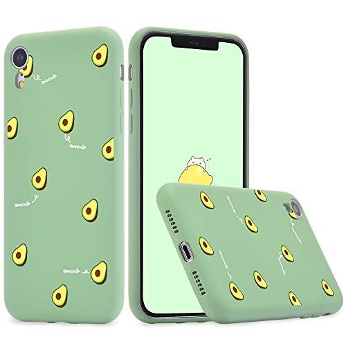 Idocolors Funda para iPhone 6 / 6s Silicona Líquida Gel Aguacate Carcasa Totalmente Protectora con Forro Interno Microfibra Cover Anti-Rasguño y Resistente Huellas Dactilares Case - Verde Caso