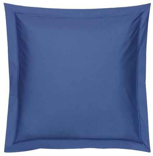 Blanc des Vosges Uni Percale Taie Coton Bleu Royal 65 x 65 cm